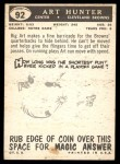 1959 Topps #92  Art Hunter  Back Thumbnail