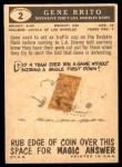 1959 Topps #2  Gene Brito  Back Thumbnail