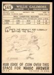 1959 Topps #145  Willie Galimore  Back Thumbnail