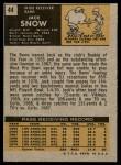 1971 Topps #44  Jack Snow  Back Thumbnail