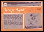 1970 Topps #119  George Byrd  Back Thumbnail