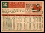 1959 Topps #382  Curt Simmons  Back Thumbnail