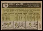 1961 Topps #85  Jerry Walker  Back Thumbnail