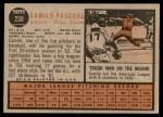 1962 Topps #230  Camilo Pascual  Back Thumbnail