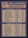 1984 Topps #133  Jim Rice / Dale Murphy / Cecil Cooper  Back Thumbnail