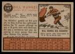 1962 Topps #147 POR Bill Kunkel   Back Thumbnail