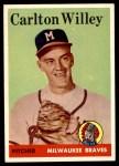 1958 Topps #407  Carlton Willey  Front Thumbnail