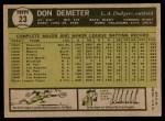 1961 Topps #23  Don Demeter  Back Thumbnail