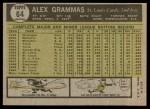 1961 Topps #64  Alex Grammas  Back Thumbnail