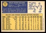 1970 Topps #143  Phil Gagliano  Back Thumbnail