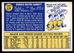 1970 Topps #628  Wayne Garrett  Back Thumbnail