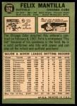 1967 Topps #524  Felix Mantilla  Back Thumbnail