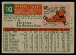 1959 Topps #143  Willie Tasby  Back Thumbnail