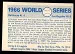 1970 Fleer World Series #63   1966 Orioles vs. Dodgers Back Thumbnail