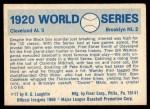 1970 Fleer World Series #17   -  Stan Coveleski 1920 Indians vs. Dodgers   Back Thumbnail