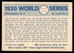 1970 Fleer World Series #27   1930 A's vs. Cardinals Back Thumbnail