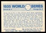 1970 Fleer World Series #32   -  Charlie Gehringer 1935 Tigers vs. Cubs   Back Thumbnail