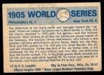 1970 Fleer World Series #2   -  Christy Mathewson 1905 Giants vs. A's   Back Thumbnail