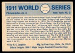 1970 Fleer World Series #8   -  John McGraw 1911 A's vs. Giants   Back Thumbnail