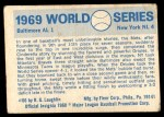 1970 Fleer World Series #66   1969 Mets vs. Orioles Back Thumbnail