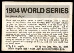 1971 Fleer World Series #2   -  John McGraw 1904 No Series  Back Thumbnail
