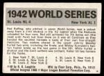 1971 Fleer World Series #40   1942 Cardinals / Yankees Back Thumbnail