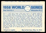 1970 Fleer World Series #55   -  Bob Turley 1958 Yankees vs. Braves   Back Thumbnail