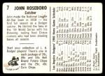 1960 Bell Brand Dodgers #7  John Roseboro  Back Thumbnail