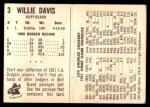 1961 Bell Brand Dodgers #3  Willie Davis     Back Thumbnail
