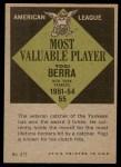 1961 Topps #472   -  Yogi Berra Most Valuable Player Back Thumbnail