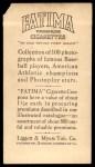 1914 T222 Fatima  Jack Lapp  Back Thumbnail