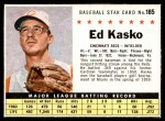 1961 Post #185 BOX Eddie Kasko  Front Thumbnail