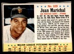 1963 Post Cereal #109  Juan Marichal  Front Thumbnail