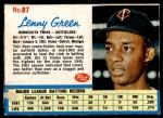 1962 Post #87  Lenny Green   Front Thumbnail