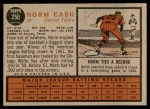 1962 Topps #250  Norm Cash  Back Thumbnail