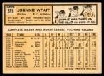 1963 Topps #376  John Wyatt  Back Thumbnail