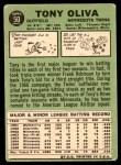 1967 Topps #50  Tony Oliva  Back Thumbnail