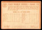 1964 Topps #137   1963 World Series - Game #2 - Davis Sparks Rally - Willie Davis Back Thumbnail