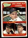 1965 Topps #3   -  Mickey Mantle / Harmon Killebrew / Boog Powell AL HR Leaders Front Thumbnail