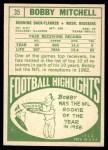 1968 Topps #35  Bobby Mitchell  Back Thumbnail