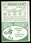 1968 Topps #28  Bernie Casey  Back Thumbnail