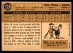 1960 Topps #438  Jim Coker  Back Thumbnail