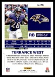 2017 Score #28  Terrance West  Back Thumbnail