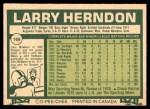 1977 O-Pee-Chee #169  Larry Herndon  Back Thumbnail