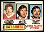 1977 O-Pee-Chee #6   -  Michel Larocque / Ken Dryden / Glenn Resch Goals Against Leaders Front Thumbnail