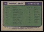 1975 Topps #204   Boston Celtics Back Thumbnail