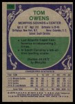 1975 Topps #239  Tom Owens  Back Thumbnail