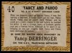1958 Topps TV Westerns #40   Yancy and Pahoo  Back Thumbnail