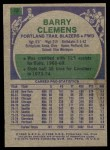 1975 Topps #22  Barry Clemens  Back Thumbnail
