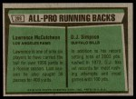 1975 Topps #209   -  O.J. Simpson / Lawrence McCutcheon All-Pro Running Backs Back Thumbnail